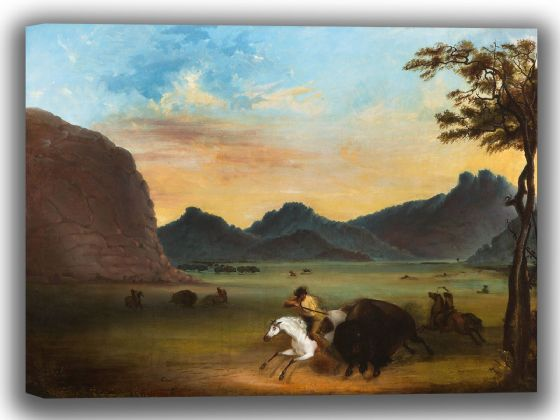Miller, Alfred Jacob: Buffalo Hunt. Fine Art Canvas. Sizes: A4/A3/A2/A1 (003815)